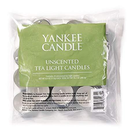 Yankee Candle Bag of 25 Unscented Tea Lights