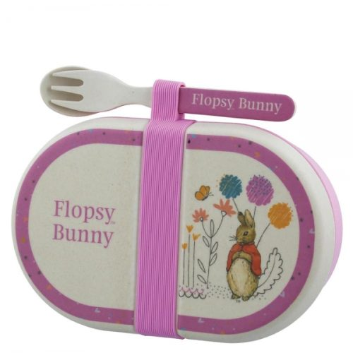 Flopsy Bunny Organic Bamboo Snack Box with Cutlery Set - Beatrix Potter