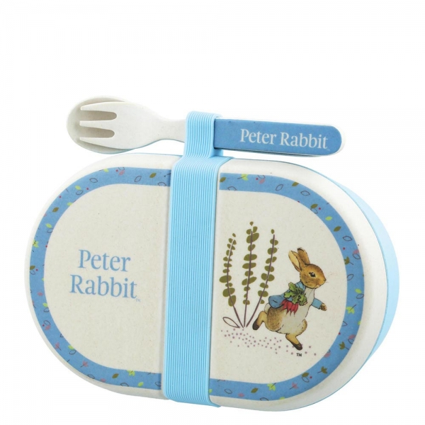 Peter Rabbit Organic Bamboo Snack Box with Cutlery Set - Beatrix Potter