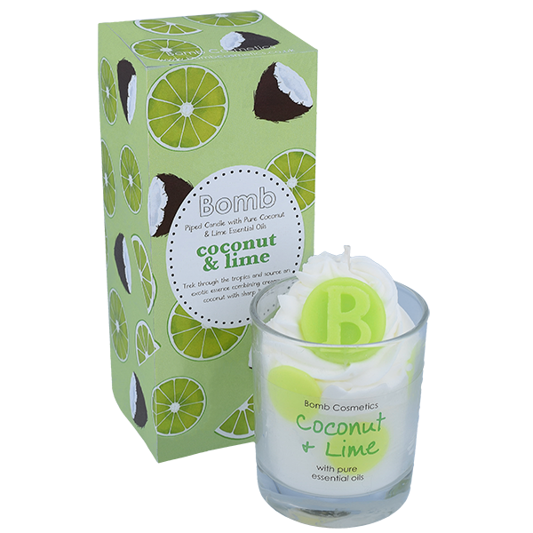 Lime & Coconut Piped Candle - Bomb Cosmetics