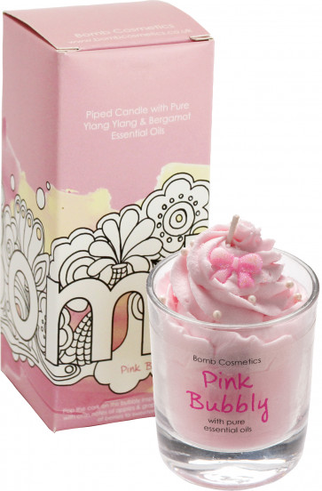 Pink Bubbly Piped Candle - Bomb Cosmetics