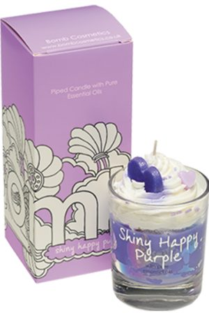 Shiny Happy Purple Piped Candle - Bomb Cosmetics
