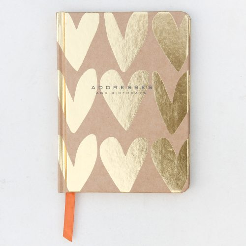 Gold Kraft Hearts Address & Birthday Book - Caroline Gardner