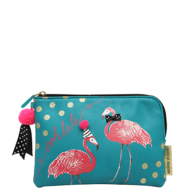 Candy Pop Flamingo Zip Pouch - Disaster Designs