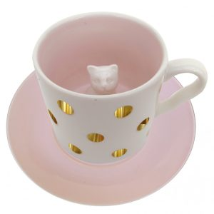 Spotty Cat Cup and Saucer - Disaster Designs