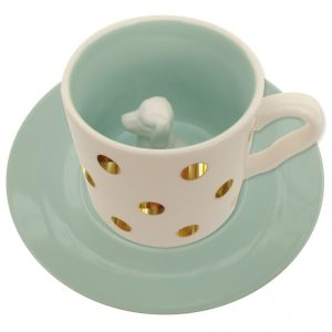 Spotty Dog Cup and Saucer - Disaster Designs
