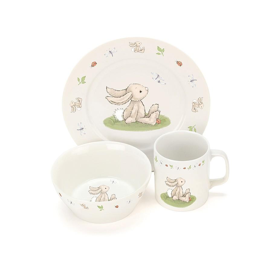 Jellycat Bashful Bunny Bowl, Cup & Plate Set