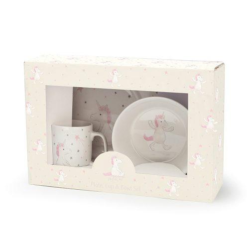 Jellycat Bashful Unicorn Bowl, Cup & Plate Set
