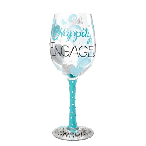 Lolita Happily Engaged Hand Painted Wine Glass
