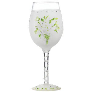 Lolita Wedding Bouquet Hand Painted Wine Glass