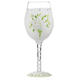 Lolita Wedding Bouquet Hand Painted Wine Glass