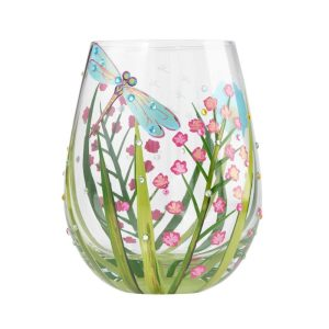 Lolita Dragonfly Hand Painted Stemless Wine Glass Tumbler