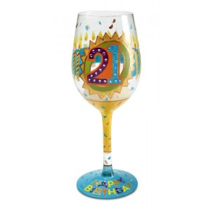 Lolita 21st Birthday Hand Painted Wine Glass