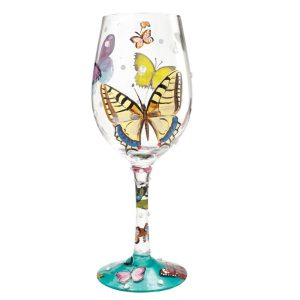Lolita Butterflies Hand Painted Wine Glass