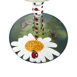 Lolita Ladybug Blown Hand Painted Wine Glass