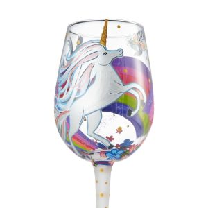 Lolita Unicorn Hand Painted Wine Glass
