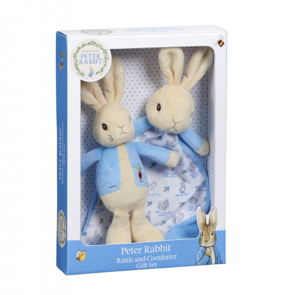 Peter Rabbit Rattle and Comforter Gift Set - Rainbow Designs