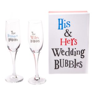 The Bright Side His & Hers Wedding Bubbles - Two Boxed Champagne Flutes