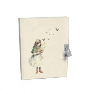 Mondoodle Lockable Notebook - Girl with Butterflies - Roger La Borde
