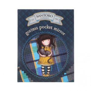Gorjuss Tartan Pocket Mirror And Envelope - Ruby (Yellow)
