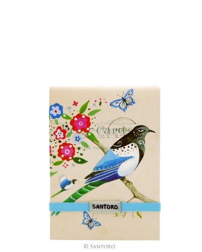 Santoro Eclectic Stitched Pocket Notebook - Black Headed Bird Study