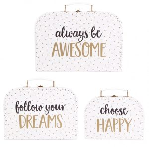 Always Be Awesome Set of 3 Metallic Monochrome Suitcases – Sass and Belle