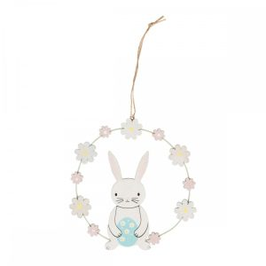 Wooden Easter Spring Bunny Egg & Flower Hanging Decoration - Sass and Belle