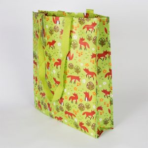 Spring Forest Fox Woven Plastic Shopper Tote Bag - Sass and Belle