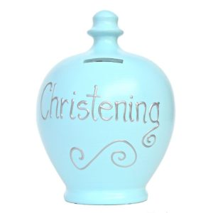 Terramundi Money Pot - Christening, Pale Blue