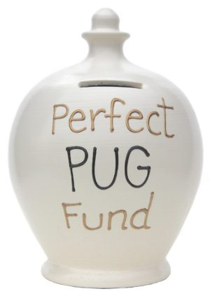 Terramundi Money Pot - Perfect Pug Fund, White