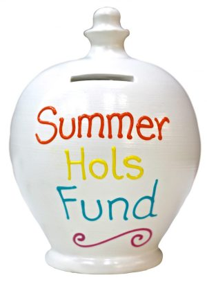 Terramundi Money Pot - Summer Hols Fund, White