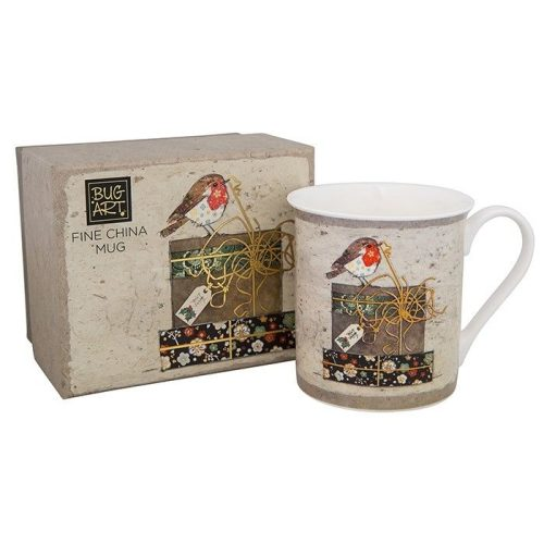 Christmas Robin Fine China Mug In Box - Bug Art