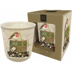 Christmas Robin Porcelain Candle - Bug Art