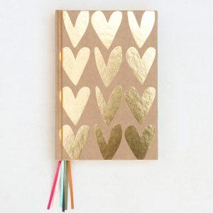Kraft Gold Hearts Multi Ribbon Hardback Notebook - Caroline Gardner