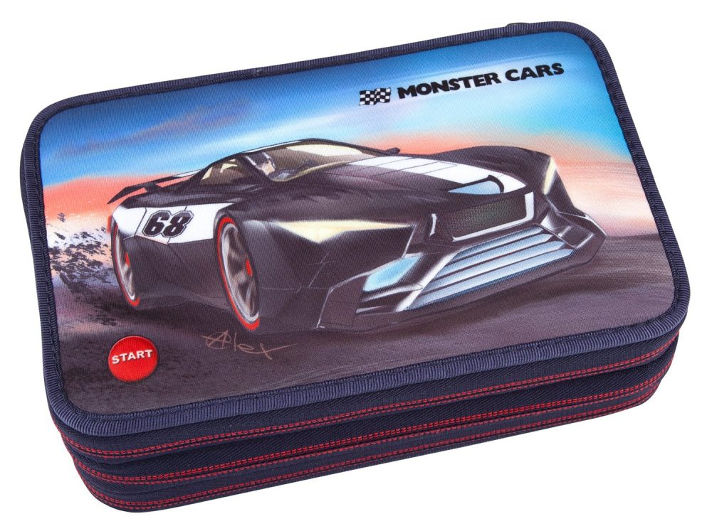 Monster Cars Filled Triple Pencil Case 6523 with LED Function - Depesche