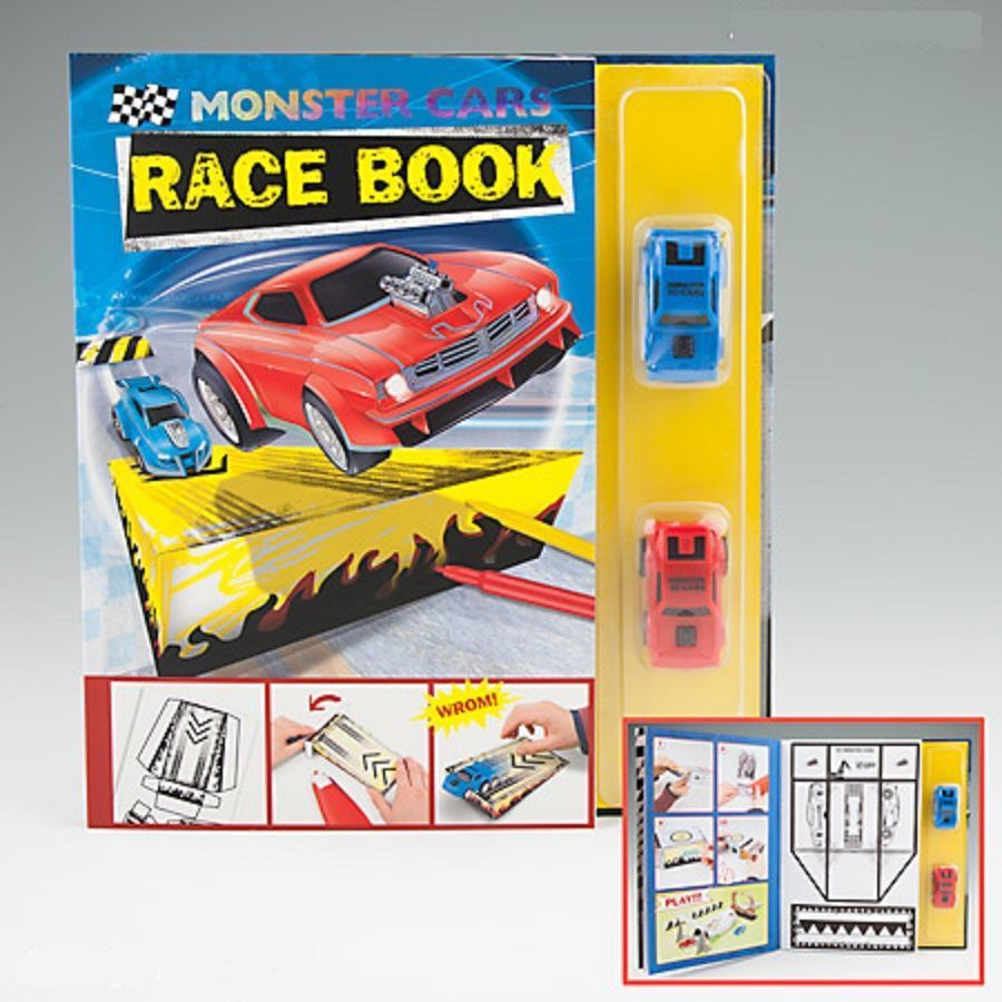 Monster Cars Race Book with 2 Race Cars - Depesche