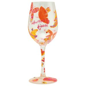 Lolita Butterfly Kisses Hand Painted Wine Glass