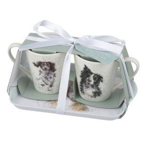 Wrendale Designs Dog Mug Pair & Tray Set