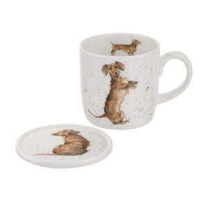 Wrendale Designs Hello Sausage Dog Dachshund Mug & Coaster Set