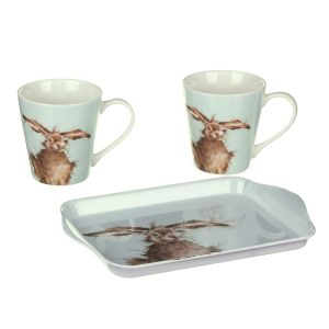 Wrendale Designs Hare Mug Pair & Tray Set