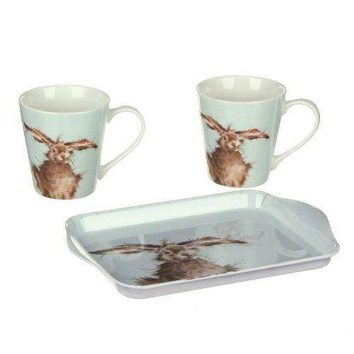 Wrendale Designs Hare Mug Pair & Tray Set
