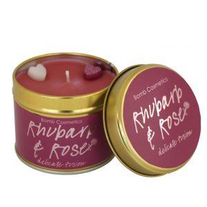 Rhubarb & Rose Tinned Candle - Bomb Cosmetics