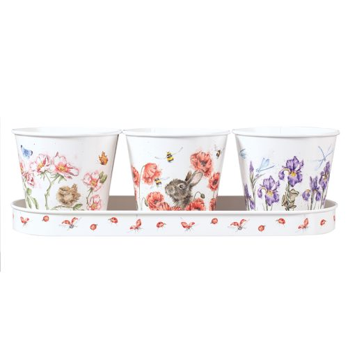 Floral Herb Pots and Tray - Wrendale Designs