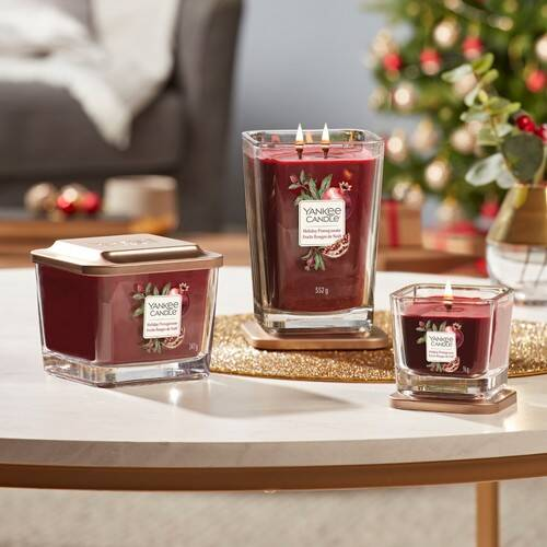 Yankee Candle Elevation Collection - Holiday Pomegranate - Large 2-Wick Square Candle