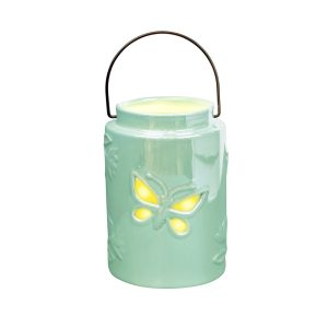 Mint Ceramic Butterfly Lantern Tea Light Holder