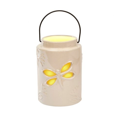 White Ceramic Dragonfly Lantern Tea Light Holder