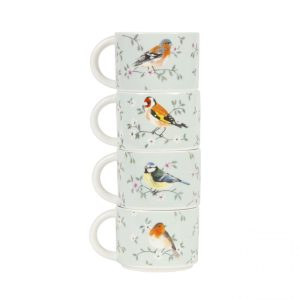 Set of 4 Garden Birds Stacking Mugs - Sass and Belle