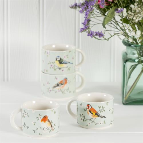 Set of 4 Garden Birds Stacking Mugs - Sass and Belle