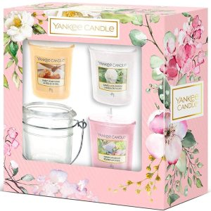 Yankee Candle 3 Votive Candle & Holder Gift Set - Garden Hideaway