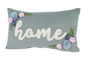 Grey Floral Home Cushion